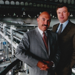 Anthony Ullman, left, and Michael Heck, joint managing directors of Autofil Worldwide at the company's £20 million plant. Photograph: Peter Byrne/Guzelian