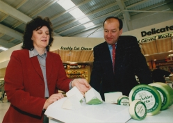 Judy Bell, managing director of Shepherd's Purse Cheeses and John Ryedale MP launching Yorkshire Feta at ASDA. Photograph: Tony Bartholomew