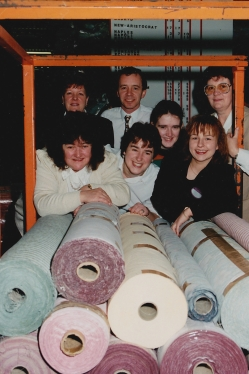 Employees from Advance Power visit Eversure Textiles in Sheffield as part of the Inside Yorkshire & Humberside Enterprise programme of best management practice factory visits. (Back row, left to right: Hilary Pickering, Mark Karran, Janet Robinson) (Front row, left to right: Kath Ambrose, Helen Lofthouse, Wendy Thompson, Julie Murphy)